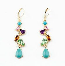 "Betsey Johnson ""Carnival"" Multi Color Crystal & Resin Gem Long Dangle Earrings"
