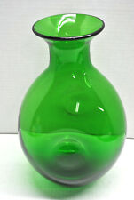 BLENKO-Hand Blown Green Glass Vase, Ovid Shaped With Circular Depressions