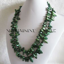 "47"" 7-8mm Green Black Wave Baroque Freshwater Pearl Necklace Strand Fashion U"
