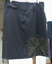 Joseph Ribkoff UK 12 BNWT Wonderful Knee Legth Black Skirt Gold Floral Dec Beads