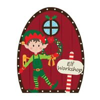 Christmas Elf Door Wooden Hanging Decoration Elves Workshop Plaque 55030