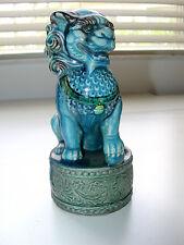 Majestic Antique Chinese Majolica Palace Guard Foo Dog Lion Statue Figurine