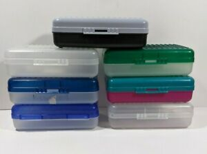 Lot of 7 Vintage Space Maker Pencil Art Box Case Clear Two Tone Blue Green