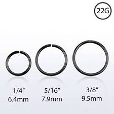 Black Plated Sterling Silver Nose Ring Continuous Seamless Hoop 22 Gauge 22G