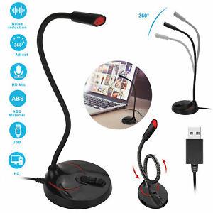USB Computer Microphone Noise Canceling Mini Condenser Mic for PC Laptop Desktop