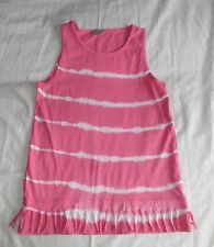 I Love Girlswear Striped Pink & White Vest Top 100%Cotton Size 8 Years