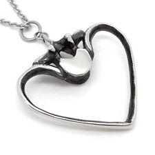 Human Ribs and Vertebra Heart Pendant Necklace Chiropractor Jewelry Charm