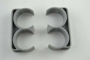 2x Shelf Pole Brackets Keep Together E-Shaped E 3 Shape Black Plastic Part 24mm