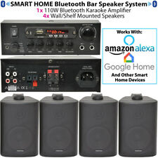 Bar/Home Black Bluetooth Wall Speaker Systems -Wireless Background Music Amp Kit