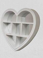 White Heart floating shelf 6 Compartment Wall mountable Decorative wall shelf