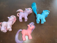 "Vintage 1984 G1 My Little Pony ""Ember"" Set Of 4 Purple, Pink & Blue By Hasbro"