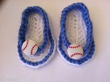 BABY SANDALS FLIP FLOPS SHOES CROCHET Size 0-3 Months Blue & White Baseball