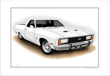 FORD  XC  FAIRMONT 5.8  UTE  LIMITED EDITION CAR DRAWING PRINT (6 CAR COLOURS )