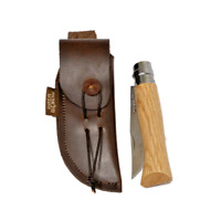 Opinel Oak no. 8 with traditionally hand made leather sheath