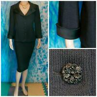 St. John Evening Santana Knit Black Jacket L 12 10 Suit Blazer Satin Trim