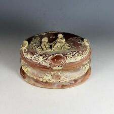 Vintage Incolay Stone Jewelry Box with Children at Play