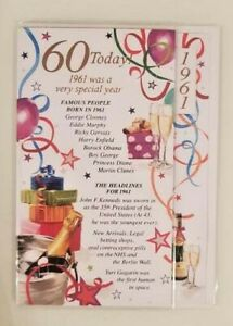 60TH BIRTHDAY CARD MALE SPECIAL YEARS RELEVANT TO MILESTONE BIRTHDAY 1961