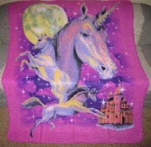 New Unicorn Castle Fleece Throw Gift Blanket Moon Unicorns  Purple Starry Night