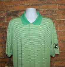 Oxford Golf Mens Polo Shirt Sz XL Green Yellow Striped Short Sleeve Coolmax
