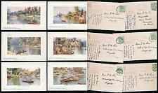 TUCKS OILETTE UP THE RIVER 9720 THAMES STIPPLED BORDER SET of 6 POSTALLY USED