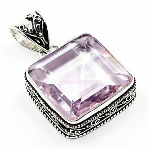 "Pink Kunzite Gemstone 925 Silver Vintage Jewelry Pendant 2"" PR17NL"