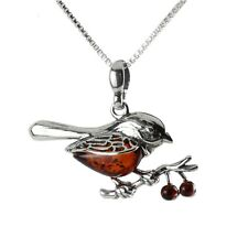 ROBIN BALTIC AMBER STERLING SILVER PENDANT WITH CHAIN