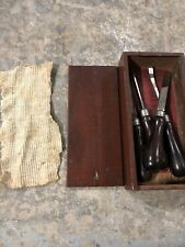 Millers Falls Carving Chisel Set Woodworking Tools w/ Orig Box 4 Chisels