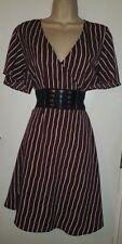WOMENS STYLISH NEW CLASSY SEXY CASUAL SMART BROWN WRAP DRESS: UK SIZE 16 (44)