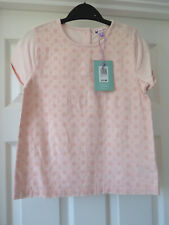 John Lewis Girls Pink  Floral Broderie T-Shirt Age 9 - Buttoned Back -  BNWT