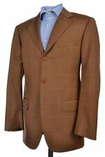 ISAIA Gianluca Brown Windowpane Check Super 100 Sport Coat Blazer Mens - 38 R