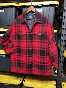 LizWear Red Buffalo Plaid Wool Trucker Jacket Casual Shirt Workwear Sz 6 $150