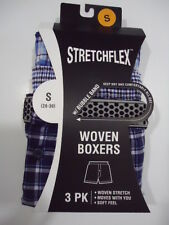 Stretchflex Men's Woven Boxers with Bubble Band (3 in pack)- Size Small (28-30)