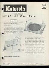 Rare 1952 Motorola C3Rc Record Changer Turntable Illustrated Parts List Manual