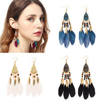 Vintage Boho Fringe Tassel Leaf Feather Dream Catcher Drop Dangle Women Earrings