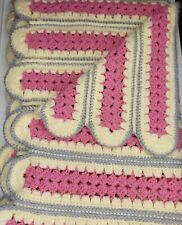 "Vintage Crocheted Lap Throw Afghan Pink Cream & Gray Striped Design 40""x52"""