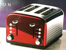 KITCHEN COLLECTION STAINLESS STEEL 4 WIDE SLICE TOASTER - RED
