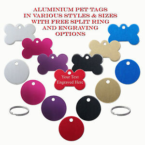 Aluminium Pet ID / Dog Identity Tags & Split Ring - Engraved / Engraving Options
