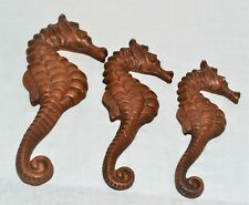 Vintage Set 3 Chalkware Plaster Seahorses Fish Earth Tone Wall Hangings Plaques