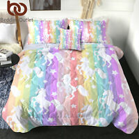 3Pcs Girls Unicorn Kids Bedding Comforter Set Twin Size Boy Animal Print Bedding