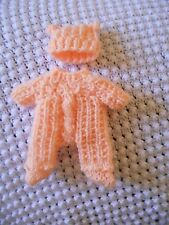 """Doll Clothes peach Hand knitted footed snowsuit or sleeper for ooak 6"""""""