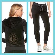 New Women's Juicy Couture Tracksuit Black Bling Velour Hoodie Pants 2pc Xs Set