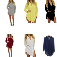 Women V Neck Chiffon T Shirt Long Sleeve Casual Oversized Top Blouse Dress M-6XL