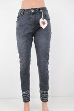 Damen Jeans Stretch Übergröße 7/8 Strass Stickerein Ethno Glitzer MOZZAAR C9994