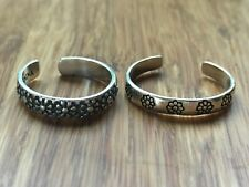 Two Beautiful Cute Flowers Blossom Toe-rings Sterling Silver *Adjustable* K608