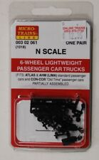 N Scale Micro Trains 00302061 (1018) 6-Wheel Lightweight Passenger Car Trucks