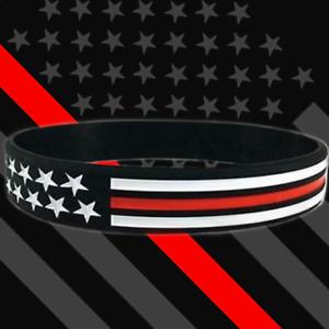 Support Law Enforcement Police Thin Blue Line Red White EMT Bracelets Wristbands