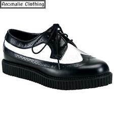 Demonia Black and White Wingtip Creepers - 1950s Rockabilly Psychobilly Punk Ska