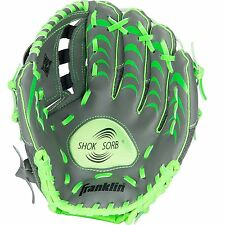 KIDS Left Hand T-BALL BASEBALL GLOVE Green Grey 10.5in Shock Absorber Ages 4-6