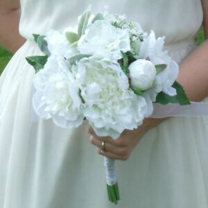 Artificial White Peony Flower Bridal Bouquet