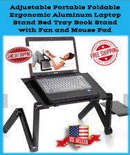 Adjustable Foldable Ergonomic Laptop Stand Bed Tray w/ BUILT in FAN & Mouse Pad